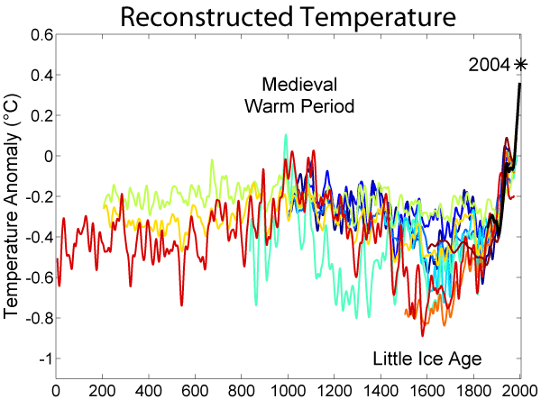 Reconstructed temperature anomalies over the past 2000 years. Note the fall in temperatures during the Little Ice Age. This figure refers to northern hemisphere temperatures, which are mirrored largely in the southern hemisphere. Source: Robert A. Rohde.