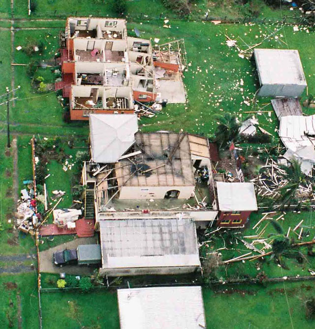Damage to houses in Innisfail, Queensland, caused by Tropical Cyclone Larry