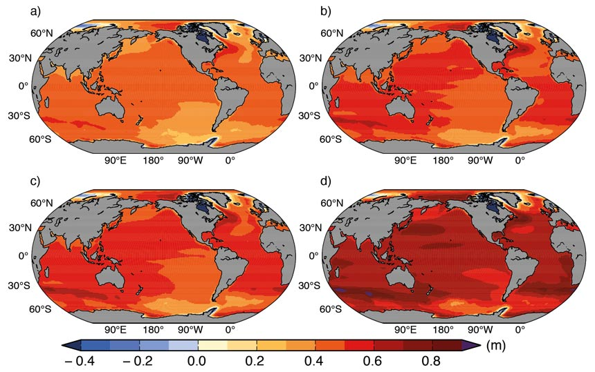 Regional sea level change (metres) evaluated from climate models for the RCP scenarios between 1986-2005 and 2081-2100