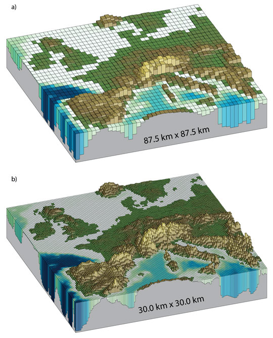 Horizontal resolutions of today's higher resolution climate models