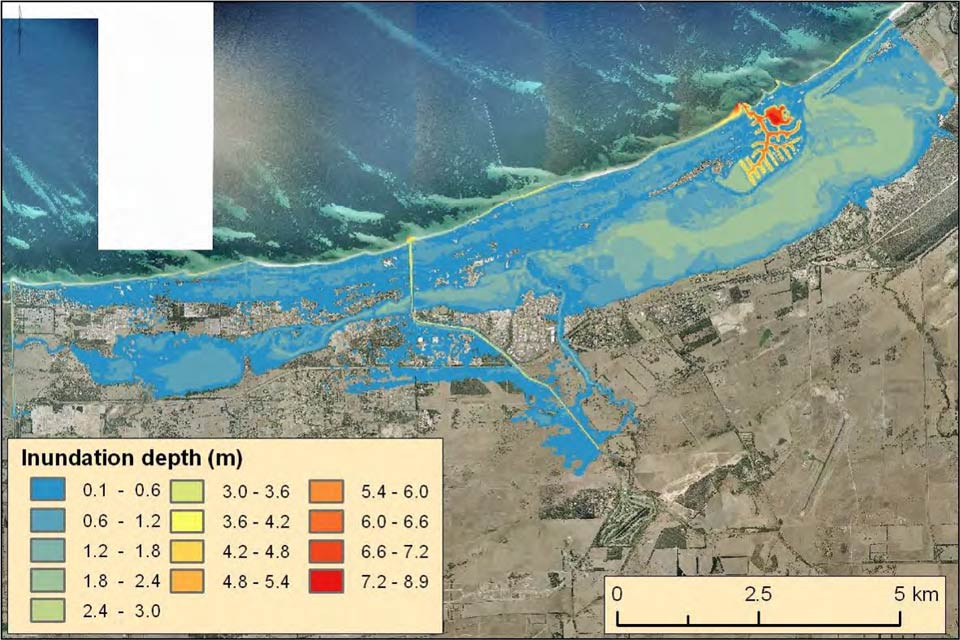 Predicted inundation of Busselton, WA, with 1.1 m of sea level rise, a 100 year ARI flood and worst case cyclone track
