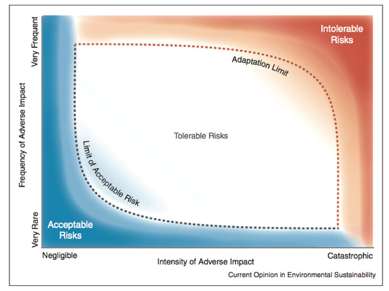 Graph showing the relationship between adaptation, adaptation limits and risk