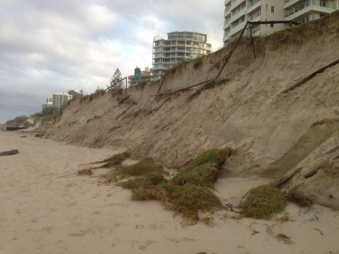 Beach erosion on the Gold Coast